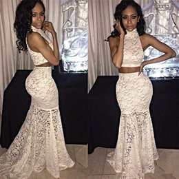 Wholesale Sexy Sleevless Dresses Purple - 2018 Summer Beach Bohemian Lace Two Piece Prom Dresses Jewel Sleevless Mermaid Evening Party Gown Black Girl Pageant Formal Wear Cheap