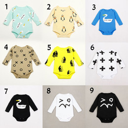 Wholesale Swan Rompers - 9 Design Baby Pure cotton cartoon cat swan rompers 2015 new Children INS cartoon long sleeve rompers B001