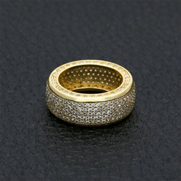 Wholesale Coolest Party Accessories - 18K Gold Plated Silver Hiphop Rings For Men Brand Design Full Diamond Hip Hop Ring Jewelry Cool Party Accessory Wholesale