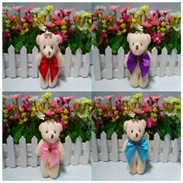 Wholesale Bear Bow Package - New Design 12cm Plush Cute Teddy Bear Urso De Pelucia Oso Stuffed Animals For Flower bouquets package Dolls With Bow 12PC