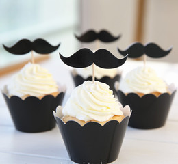 Wholesale Black Greaseproof Cupcake Liners - Cute Black Mustache High temperature baking greaseproof paper muffin cupcake liners wrappers and toppers picks Bulk 24pcs lot