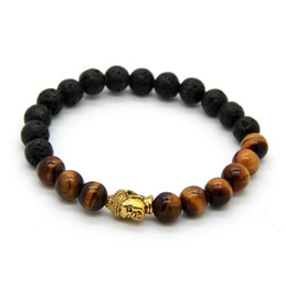 Wholesale Hot Sale Gold 18k - Hot Sale Men's Beaded Buddha bracelet, 8mm lava stone with Tiger Eye Yoga meditation Jewelry for Party Gift