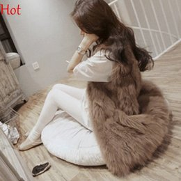 Wholesale Plus Size Long Vest - Hot Plus Size Women Faux Fur Vests Special Slim long Waistcoat Coat Women Gilets Outwear Fox Fur Female Vest Jackets Brown Grey SV005513