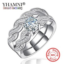 Wholesale marquise wedding sets - YHAMNI Fine Jewelry Classic Marquise CZ Diamond 2 Rings Sets Solid 925 Silver Band Wedding Ring Party Jewelry For Women KR127