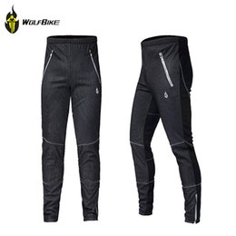 Wholesale Padded Trousers Mens - Wholesale-WOLFBIKE Cycling Fleece Thermal Wind Pants Winter Pants Tights-James Mens Sports Trousers Plus Size Track Padded Windproof Pants