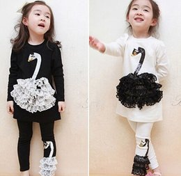 Wholesale Swan Set - Korean style children suit Black White long sleeve lace swans fashion Girls Autumn suit Cartoon clothing set 2 piece top legging set