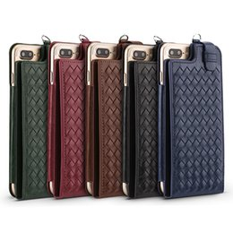 Wholesale handmade leather wallets - Multi-function Kickstand Leather Phone Case for iPhone 6 7 8 Plus Handmade Knitting Design Practical Card Package Luxurious Mobile Shell