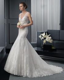 Wholesale Dress Double Shoulder Train - Hot Sale--Best Stylish Mermai Bridal Dress Gowns Double-shoulder V-neck Applique Court Train Zip up Sexy Charming Bridal Wedding Dress No:91