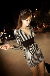 Wholesale Stripe Layer Dress - Hot Spring Womens Sexy V neck Black White Stripe Casual Dress Long Sleeve Peplum Layers Bodycon Slim Mini Dress