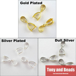 Wholesale Silver Plated Pendant Pinch Bails - Wholesale-(25Pcs=1Lot !) Free Shipping Jewelry Necklace Pinch Bail Pendant Clasp Connector 5.5X14MM Gold Silver Dull Silver Plated EW41