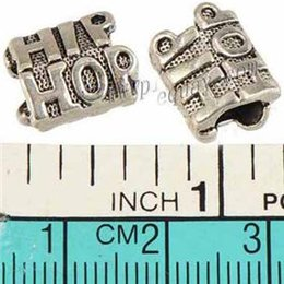 Wholesale Hiphop Beads - Jewelry Components Charms Beads Pandora Bracelet DIY 5mm Large Hole Music Hiphop Letter Antique Silver Metal 13*9mm For Crafts Making 100pcs