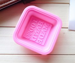 """Wholesale Silicone Soap Square - New free shipping soap die with""""100% HAND MADE """"letter shape food grade silicone silicone cake tools square silicone mold"""