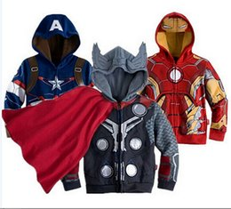 Wholesale Captains Coat - Avengers Iron Man Children Sweatshirt Jacket&Coat,Baby boy Thor Cosplay,Captain America jackets.Girls&Boys Long Sleeve hoodies kids clothing