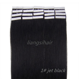 "Wholesale Hair Extension Tape Wholesale Price - Wholesale Prices 18""-26"" 20pcsx5 1# Jet Black Tape Skin Weft Brazilian Indian Malaysian Peruvian Remy Human Hair Extensions Free Shipping"