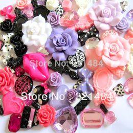 Wholesale Wholesale Phone Decoration Kit - CNA095 mix flatback resin flower bow kawaii cabochon cell phone case diy decoration kit
