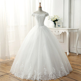 Wholesale Soft White Lace Dress Short - Bateau Neck Soft Tulle Wedding Dress With Short Sleeves 2018 Ball Gown Bridal Dress For Marriage