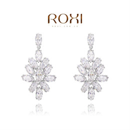 Wholesale Platinum White Zircons - FG ROXI Exquisite platinum plat,white snowflake trees earrings for women party with zircons,fashion jewelrys,Christmas gifts,102076