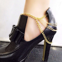 Wholesale Wholesale Trendy Heels - Women Fashion Tassel Anklets Foot Chains SLAVE ANKLE High-heeled Shoes Accessories Multilayer tassel Metal Chain Golden Anklets Body Jewelry