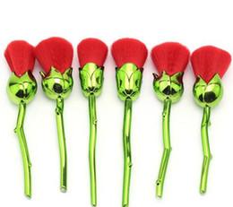 YENI Çiçek fırça Makyaj Fırça Pudra Kontur seti Plastik Saplı Naylon Saç KıRMıZı Stok OEM Gül 6 adet / takım nereden pc oem tedarikçiler