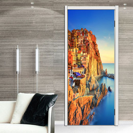 Wholesale 3d Stickers Italy - New Italy Manarola scenery Sticker 3D Wall Sticker Decal Art Decor Vinyl Removable Mural Poster Scene Window Door Art Decoration