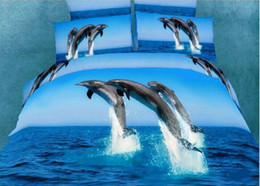 Wholesale Dolphin 3d Duvet Cover - 2015 European 3D Dolphins love comforter Covers Print 4-Piece Duvet Cover Bedding Sets 100% Cotton Blue Sea Scenery Free Shipping