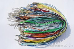 Wholesale Silk Ribbon Cord Necklace Wholesale - Wholesale 100pcs lot Mixed Colors Silk Organza Ribbon braided Necklace Strap Cord Chain Silver Tone Lobster clasp #ac24 FREE Shipping