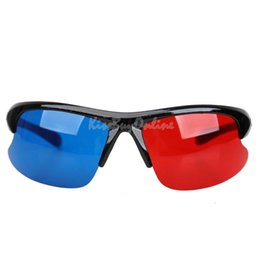 Wholesale Red Blue Anaglyph - Red Blue Plasma TV Movie Dimensional Anaglyph Half-frame 3D Vision Glasses K5BO