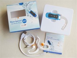 Wholesale Ipx8 Waterproof Mp3 Player - IPX8 FM Radio Waterproof mp3 music player 4GB Clip Waterproof Mp3 Player Swimming Diving Sports Stereo Sound with Earphone