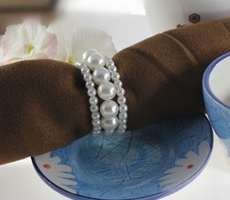 pearls for table decorations Canada - Wholesale 2016 Popular Wedding White Shiny Pearls Napkin Rings For Wedding Favor Supplies Party Table Decoration Accessories Top Quality