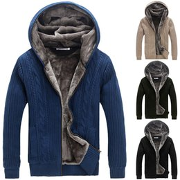 Wholesale Thick Black Cardigan - Wholesale-New Winter Warm Thick Mens Sweaters  Casual Fashion Faux Fur Lining Knitted Sweaters Men Designer Men Hooded Cardigans D447