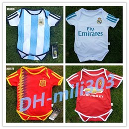 Wholesale Triangle Jumpsuit - 2018 World Cup Spain Argentina Belgium Baby soccer Jersey Sleeved Jumpsuit Baby Triangle Climb Clothes Loveclily 17 18 Real Madrid baby fans