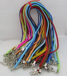 Wholesale Wholesale Suede Necklaces - 50pcs lot Adjustable Assorted Color Suede Leather Necklace Cord With Lobster Clasp 3mm 18-20inch