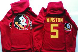 Wholesale Waterproof Jacket Xl Adult - Men hoodie Florida State Seminoles 5 Jameis Winston red black pullover sweatshirt adult size fsu college football jerseys stitched Jacket