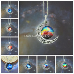 Wholesale Star Necklaces For Women - The stars the moon Crystal Gemstone pandent Necklace Jewelry Fashion Necklaces For Women Girls