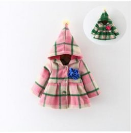 Wholesale Wholesale Canvas Coats - Baby girls Tench coats Infants plaid big pompons hooded coats children single-breasted stereo flowers overcoats Winter kids overcoats G1659
