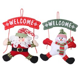 Wholesale Ornament Hangers - Christmas Door Hanging Ornament With Santa Claus Snowman Welcome Pattern Xmas Decoration Hanger 13.78*7.87inch