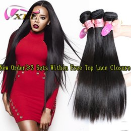 Wholesale Human Remy Weave - XBL Silky Straight Human Hair Weave Virgin Human Hair Brazilian Human Hair Weft 3 4 Pieces One Set