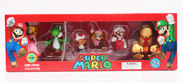Wholesale Kong Wholesale - 6pcs set Super Mario Bros Peach Toad Mario Yoshi Donkey Kong PVC Action Figure Toys Dolls New in Box 4~6cm Retail
