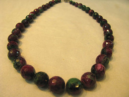 Wholesale Ruby Zoisite - high quality round handmade faceted genuine ruby zoisite epidote gemstone bead necklace 6-14mm 17inch L