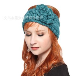 Wholesale Cheap Crochet Headband - Cheap Women Knitted Headband Camellia Flowers Knitted Wool Crochet Headbands Handmade Tenia Ladies Wool Hairband Free Shipping -J445