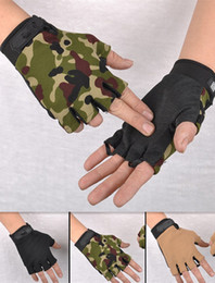 Wholesale Womens Half Finger Gloves - Wholesale-Outdoor driving tactical exercise half finger fitness gloves sports fingerless microfiber mens&womens training gloves L