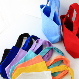 Wholesale Candy Wall - Canvas Handbag Portable Lunch Bags Lady Cosmetic Bag For Storage Articles Candy Color 3 5xx C R
