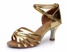 Wholesale Satin Shoes Latin Dance - Hot sale Latin Dance Shoes Ballroom tango Shoes for women gold color 7CM