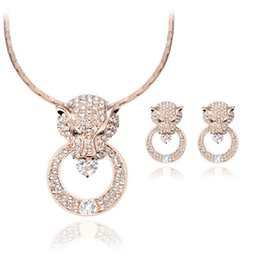 Wholesale Wedding Leopard Earrings - Newest Model Luxurious texture round leopard head Necklace Earrings Sets 18kgp Full Rhinestone Crystal Jewelry Sets For Women CAL21090I