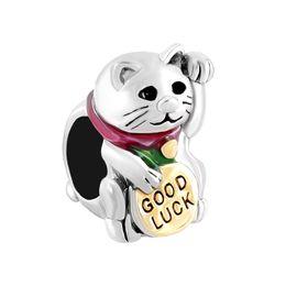 Wholesale Maneki Neko Charms - Rhodium and Gold Plating Hand Enamel Good Lucky Cat Maneki Neko Bead Charm Fit Pandora Bracelet