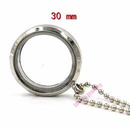 Wholesale White Floating Ball - (free chain)30 mm silver round magnetic glass floating charm locket Zinc Alloy origami owl lockets (70 mm free ball chain)