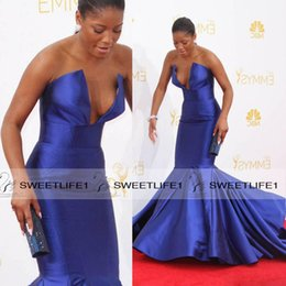 Wholesale Emmy Awards V Neck Ruffle - 2016 Popular Mermaid Celebrity Dresses on the 66th Emmy Awards Red Carpet Dresses with V Neck Sweep Train Royal Blue Customized Ruffles