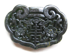 Wholesale Jade Carved Flower Pendant - Chinese Xinjiang black and green jade hand-carved flower and bat lock bring blessing and good luck