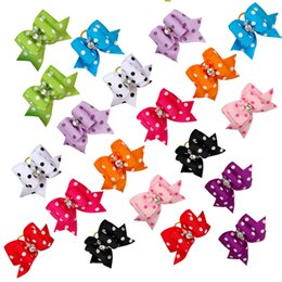 Wholesale Dog Bows Rhinestone - 50pcs Handmade Rhinestone Dot Print Cute Pet Cat Dog Hair Bows Grooming Accessories Mixed Colorful Bows