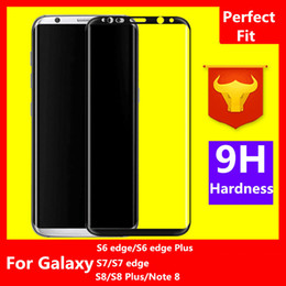 Wholesale note screen protection - For Galaxy S9 Note 8 S8 Plus S6 edge S7 edge 0.2mm 3D Full Screen Covered Tempered Glass Curved Side edge Protection